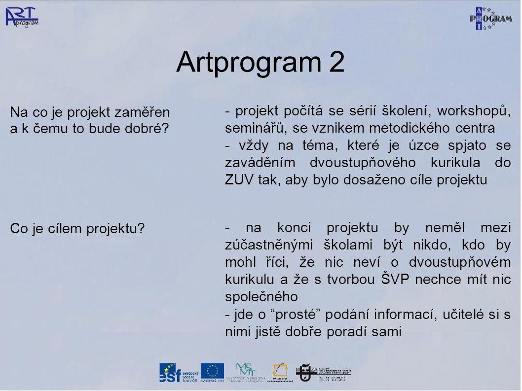 Artprogram 1 další základní informace Jakou částku představuje výše dotace.