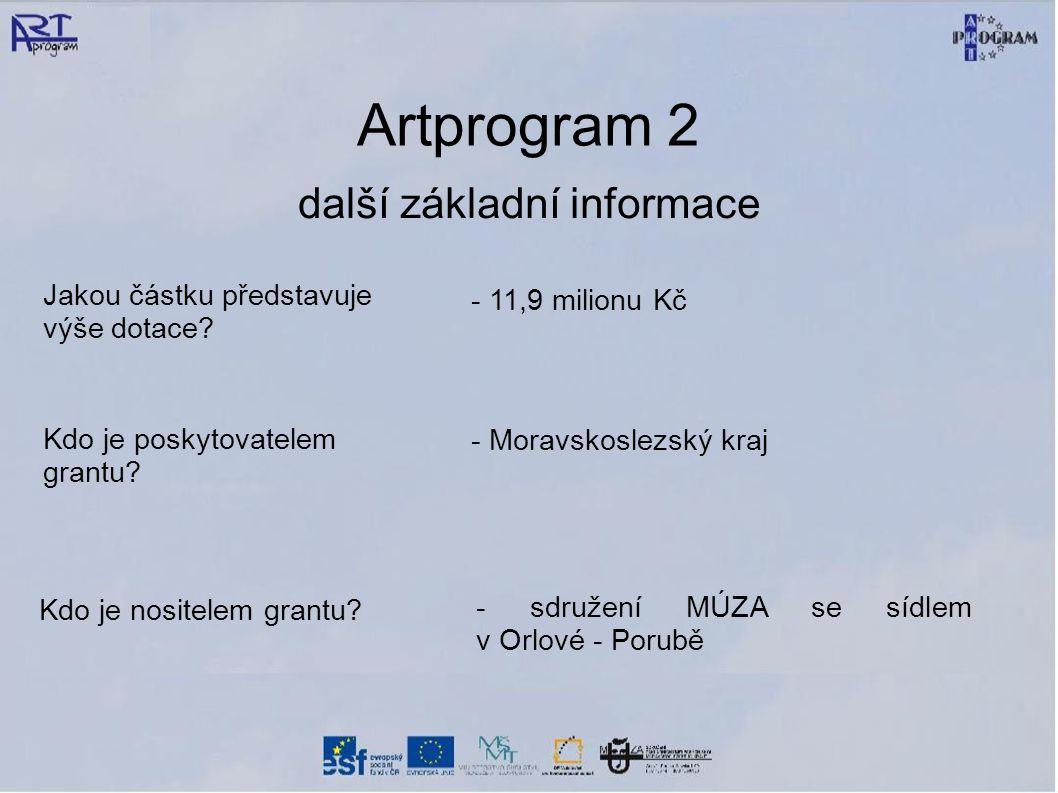 Artprogram 2 další základní informace Jakou částku představuje výše dotace.
