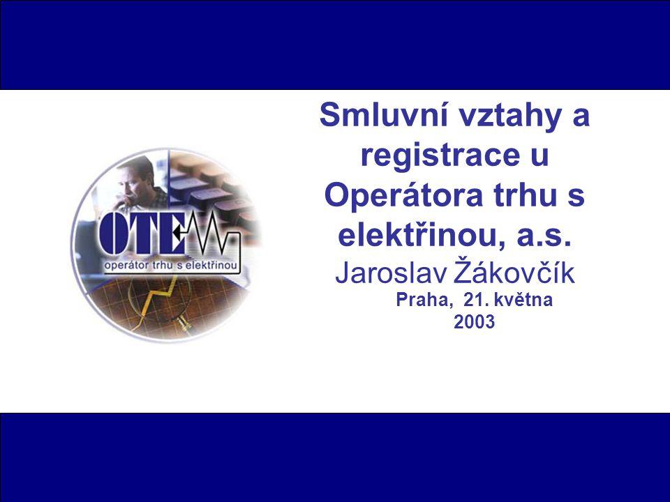 Smluvní vztahy a registrace u Operátora trhu s elektřinou, a.s.