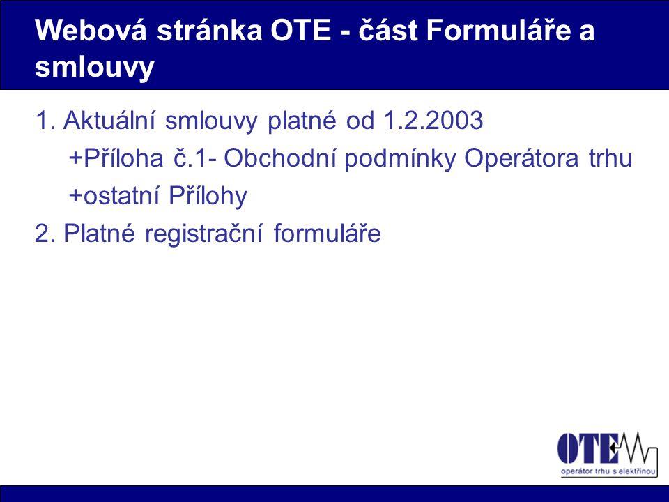 Webová stránka OTE - část Formuláře a smlouvy 1.