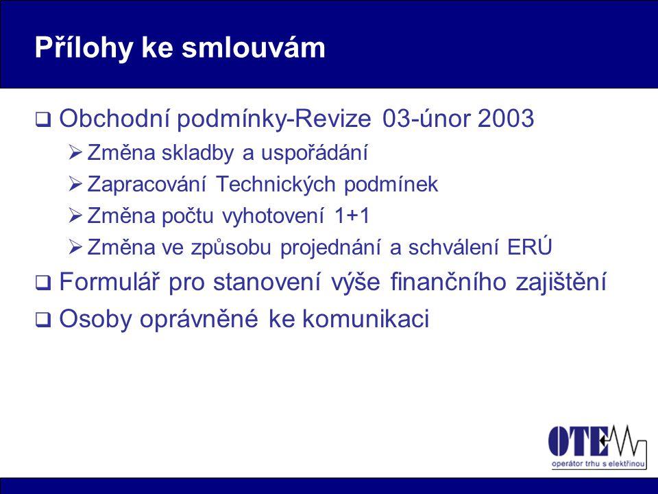Přílohy ke smlouvám  Obchodní podmínky-Revize 03-únor 2003  Změna skladby a uspořádání  Zapracování Technických podmínek  Změna počtu vyhotovení 1+1  Změna ve způsobu projednání a schválení ERÚ  Formulář pro stanovení výše finančního zajištění  Osoby oprávněné ke komunikaci