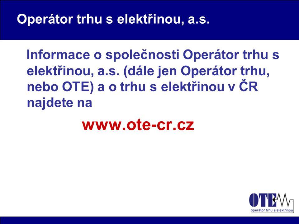 Operátor trhu s elektřinou, a.s.Informace o společnosti Operátor trhu s elektřinou, a.s.