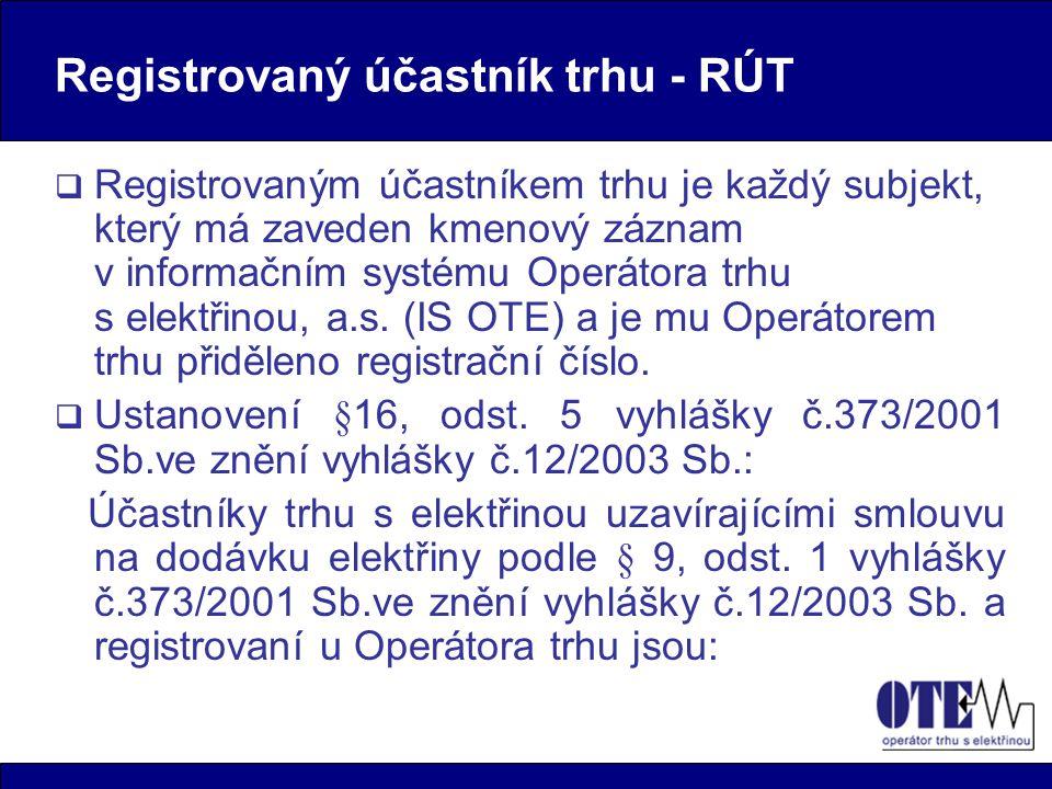 Registrovaný účastník trhu - RÚT  Registrovaným účastníkem trhu je každý subjekt, který má zaveden kmenový záznam v informačním systému Operátora trhu s elektřinou, a.s.