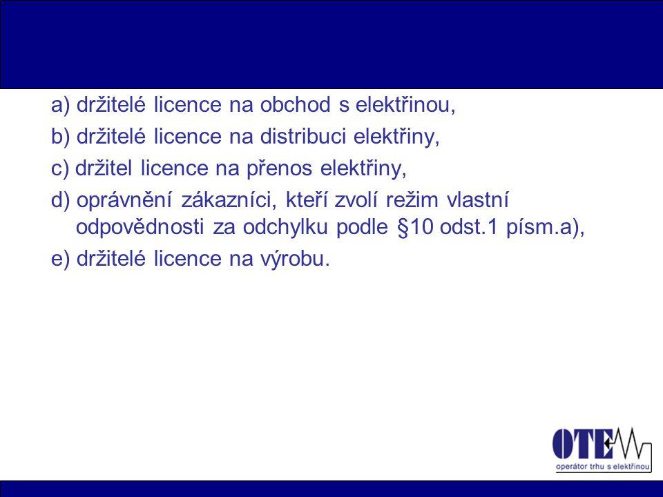 a) držitelé licence na obchod s elektřinou, b) držitelé licence na distribuci elektřiny, c) držitel licence na přenos elektřiny, d) oprávnění zákazníci, kteří zvolí režim vlastní odpovědnosti za odchylku podle §10 odst.1 písm.a), e) držitelé licence na výrobu.