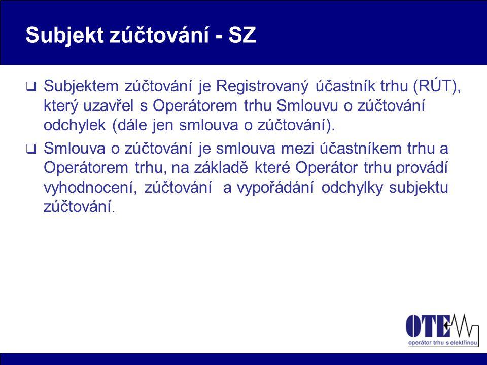 Subjekt zúčtování - SZ  Subjektem zúčtování je Registrovaný účastník trhu (RÚT), který uzavřel s Operátorem trhu Smlouvu o zúčtování odchylek (dále jen smlouva o zúčtování).