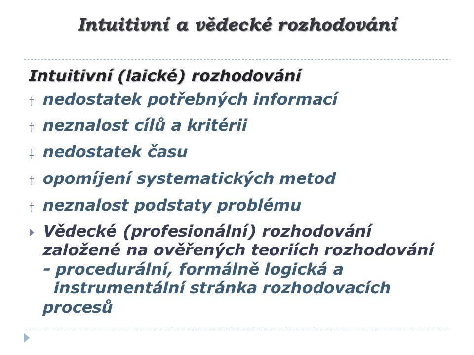 Intuitivní a vědecké rozhodování Intuitivní (laické) rozhodování ‡ nedostatek potřebných informací ‡ neznalost cílů a kritérii ‡ nedostatek času ‡ opo