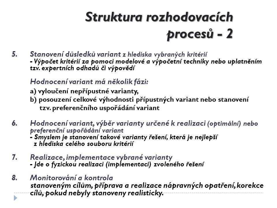 Struktura rozhodovacích procesů - 2 5.Stanovení důsledků variant z hlediska vybraných kritérií - Výpočet kritérií za pomoci modelové a výpočetní techn