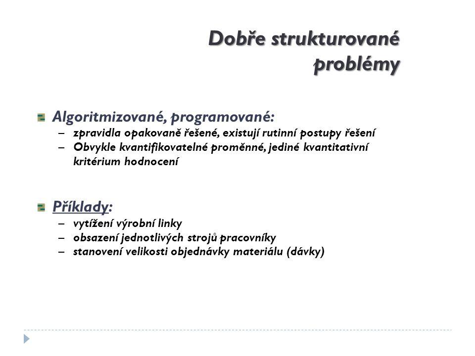Dobře strukturované problémy Algoritmizované, programované: –zpravidla opakovaně řešené, existují rutinní postupy řešení –Obvykle kvantifikovatelné pr