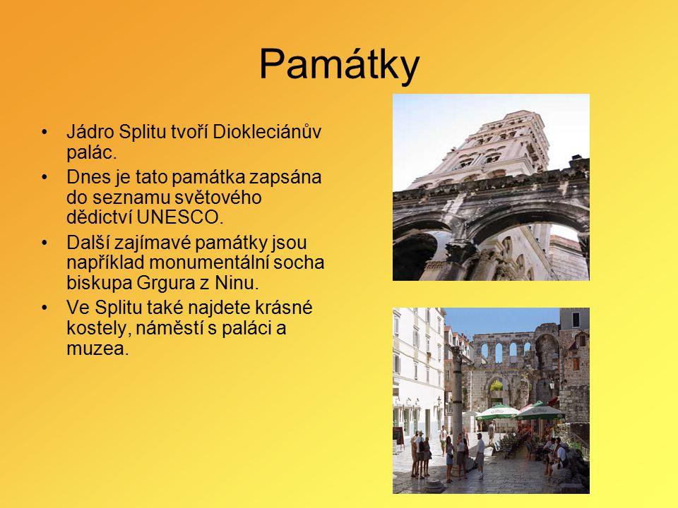 Památky Jádro Splitu tvoří Diokleciánův palác. Dnes je tato památka zapsána do seznamu světového dědictví UNESCO. Další zajímavé památky jsou napříkla