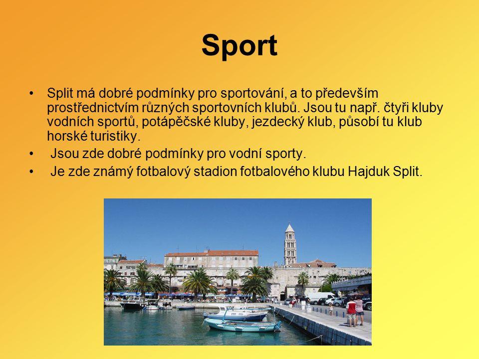 Sport Split má dobré podmínky pro sportování, a to především prostřednictvím různých sportovních klubů. Jsou tu např. čtyři kluby vodních sportů, potá