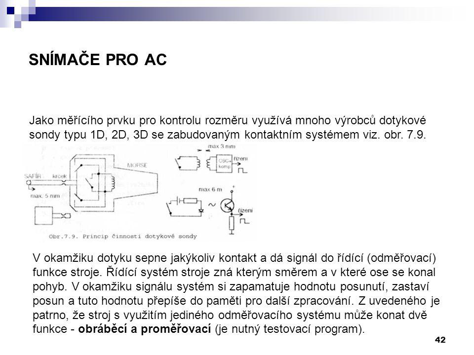 42 Jako měřícího prvku pro kontrolu rozměru využívá mnoho výrobců dotykové sondy typu 1D, 2D, 3D se zabudovaným kontaktním systémem viz. obr. 7.9. V o