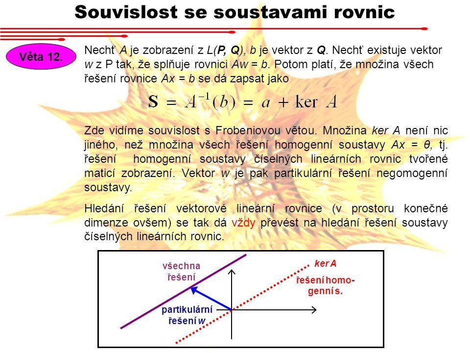 Souvislost se soustavami rovnic Věta 12.Nechť A je zobrazení z L(P, Q), b je vektor z Q.