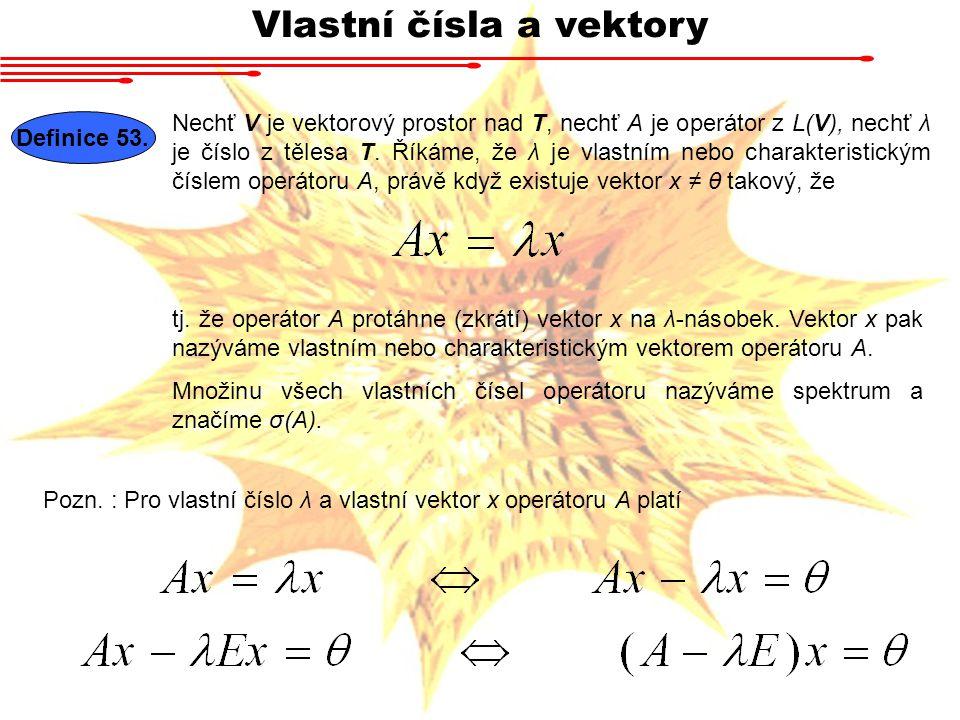 Vlastní čísla a vektory Definice 53.