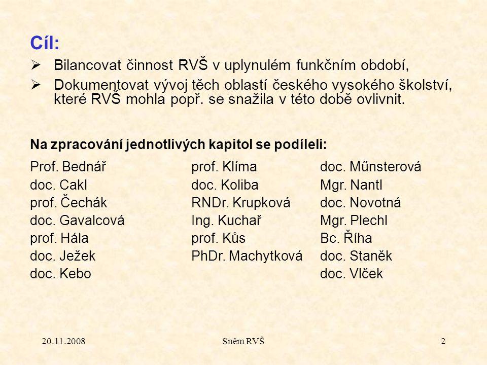 20.11.2008Sněm RVŠ2 Cíl:  Bilancovat činnost RVŠ v uplynulém funkčním období,  Dokumentovat vývoj těch oblastí českého vysokého školství, které RVŠ
