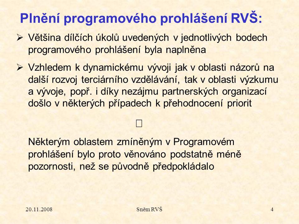 20.11.2008Sněm RVŠ4  Většina dílčích úkolů uvedených v jednotlivých bodech programového prohlášení byla naplněna  Vzhledem k dynamickému vývoji jak v oblasti názorů na další rozvoj terciárního vzdělávání, tak v oblasti výzkumu a vývoje, popř.