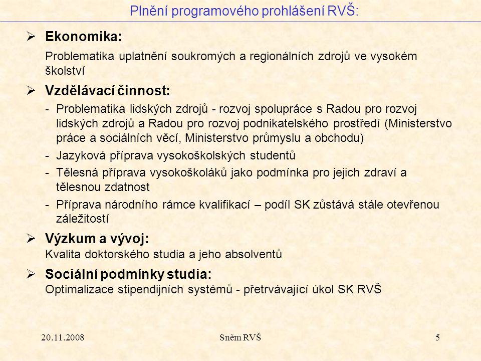 20.11.2008Sněm RVŠ5  Ekonomika: Problematika uplatnění soukromých a regionálních zdrojů ve vysokém školství  Vzdělávací činnost: - Problematika lids