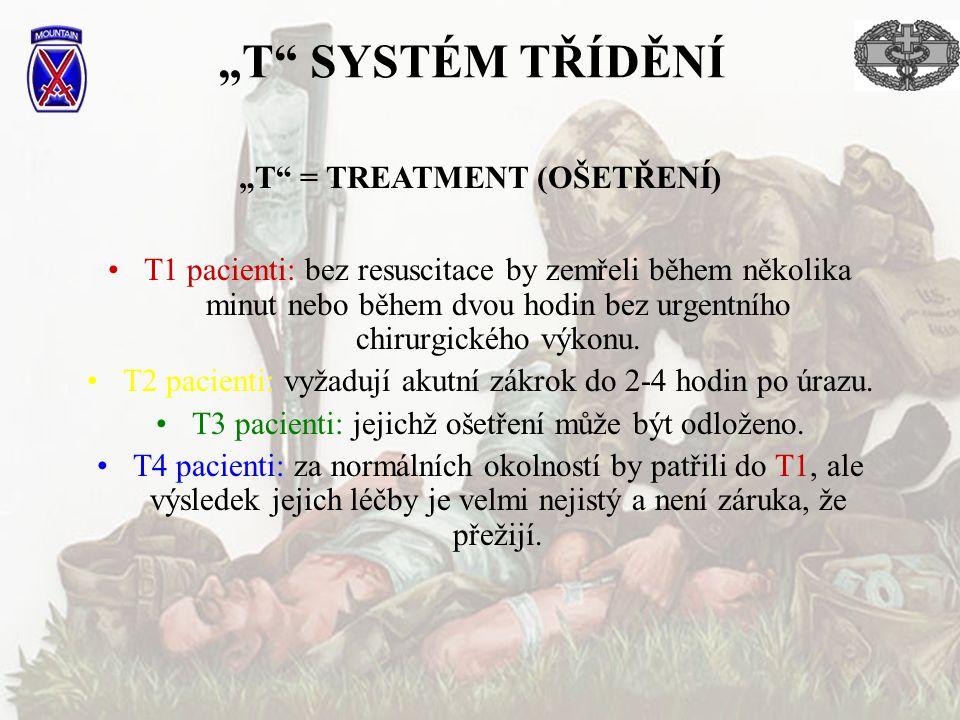 """""""T"""" SYSTÉM TŘÍDĚNÍ T1 pacienti: bez resuscitace by zemřeli během několika minut nebo během dvou hodin bez urgentního chirurgického výkonu. T2 pacienti"""