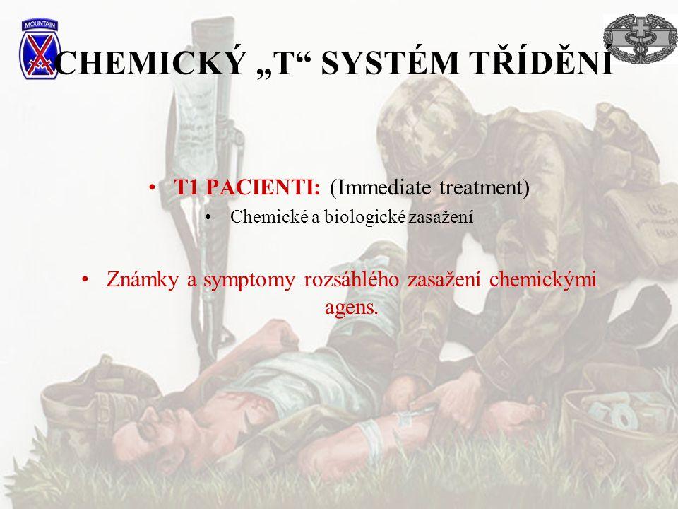 """CHEMICKÝ """"T"""" SYSTÉM TŘÍDĚNÍ T1 PACIENTI: (Immediate treatment) Chemické a biologické zasažení Známky a symptomy rozsáhlého zasažení chemickými agens."""
