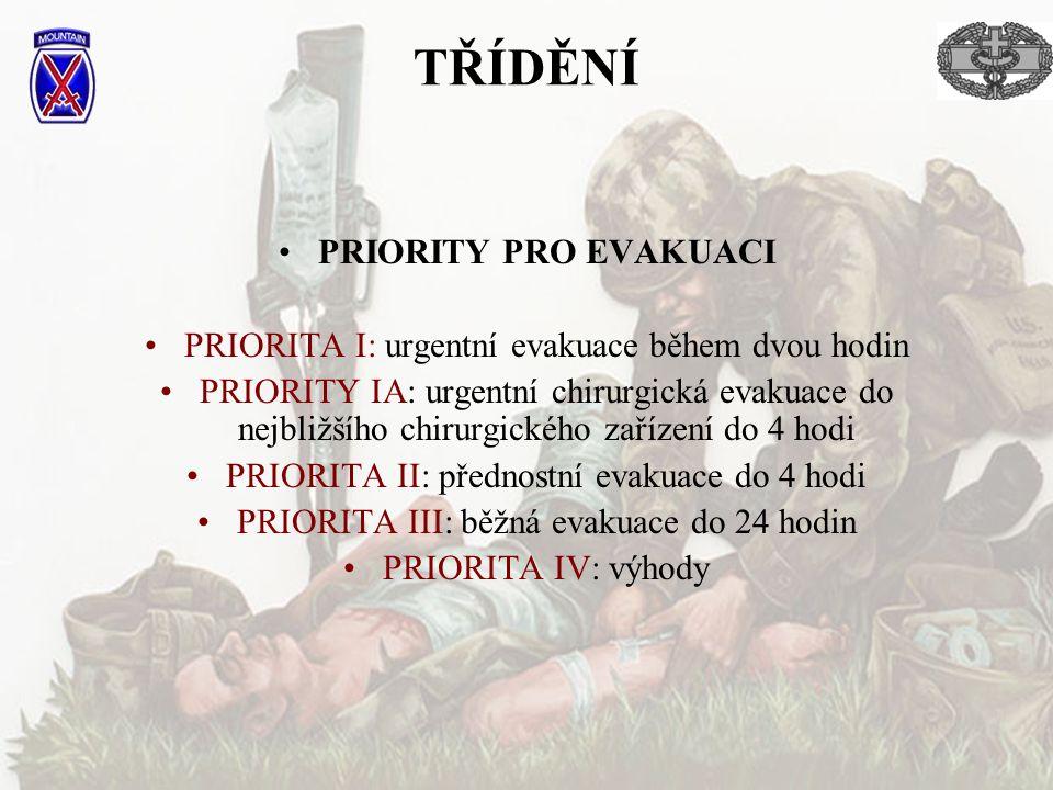 PRIORITY PRO EVAKUACI PRIORITA I: urgentní evakuace během dvou hodin PRIORITY IA: urgentní chirurgická evakuace do nejbližšího chirurgického zařízení