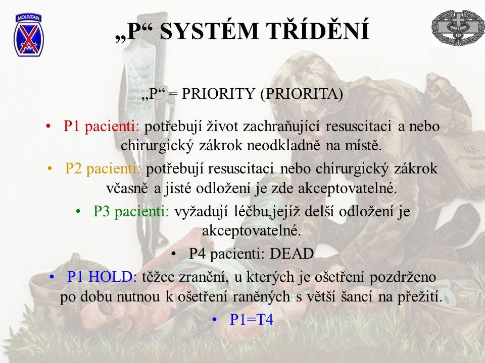 """""""P"""" SYSTÉM TŘÍDĚNÍ P1 pacienti: potřebují život zachraňující resuscitaci a nebo chirurgický zákrok neodkladně na místě. P2 pacienti: potřebují resusci"""