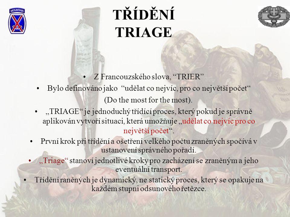 """TŘÍDĚNÍ TRIAGE Z Francouzského slova, """"TRIER"""" Bylo definováno jako """"udělat co nejvíc, pro co největší počet"""" (Do the most for the most). """"TRIAGE"""" je j"""