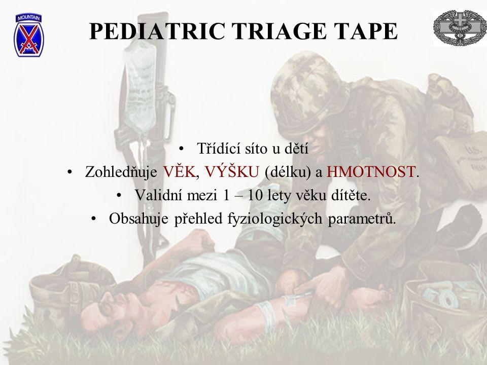 PEDIATRIC TRIAGE TAPE Třídící síto u dětí Zohledňuje VĚK, VÝŠKU (délku) a HMOTNOST. Validní mezi 1 – 10 lety věku dítěte. Obsahuje přehled fyziologick