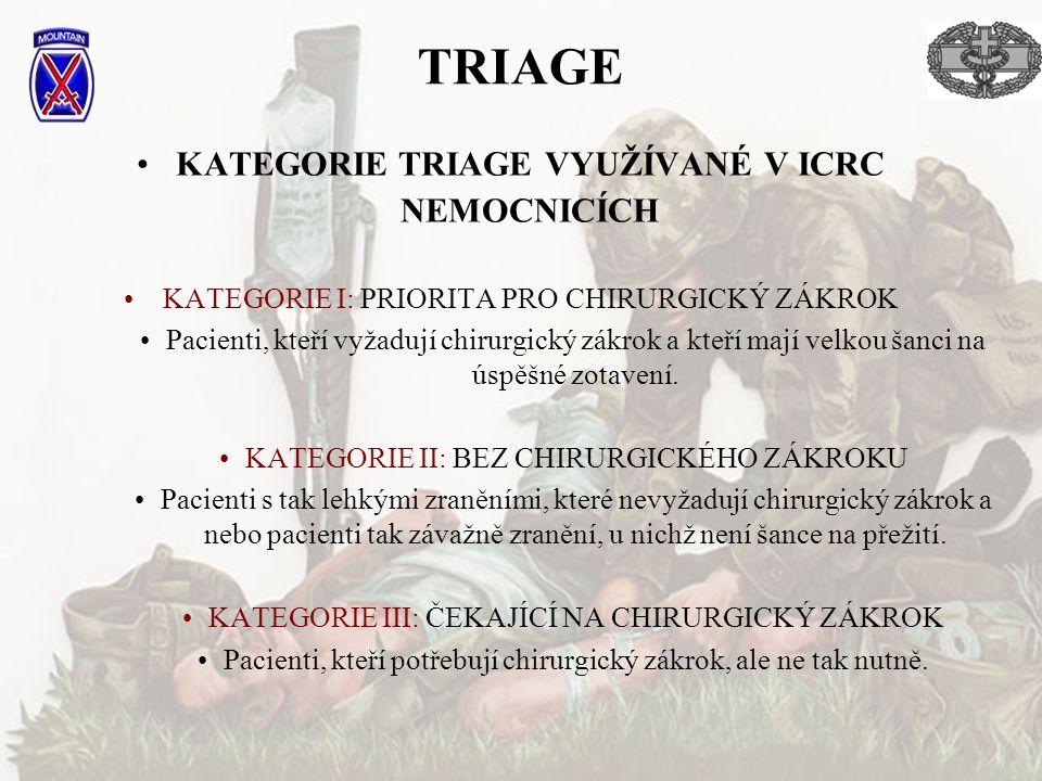 TRIAGE KATEGORIE TRIAGE VYUŽÍVANÉ V ICRC NEMOCNICÍCH KATEGORIE I: PRIORITA PRO CHIRURGICKÝ ZÁKROK Pacienti, kteří vyžadují chirurgický zákrok a kteří