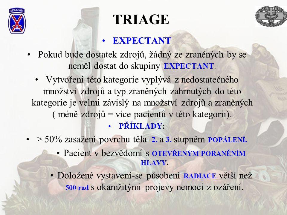 TRIAGE EXPECTANT Pokud bude dostatek zdrojů, žádný ze zraněných by se neměl dostat do skupiny EXPECTANT. Vytvoření této kategorie vyplývá z nedostateč