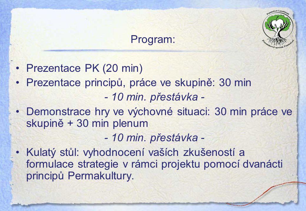Program: Prezentace PK (20 min) Prezentace principů, práce ve skupině: 30 min - 10 min. přestávka - Demonstrace hry ve výchovné situaci: 30 min práce