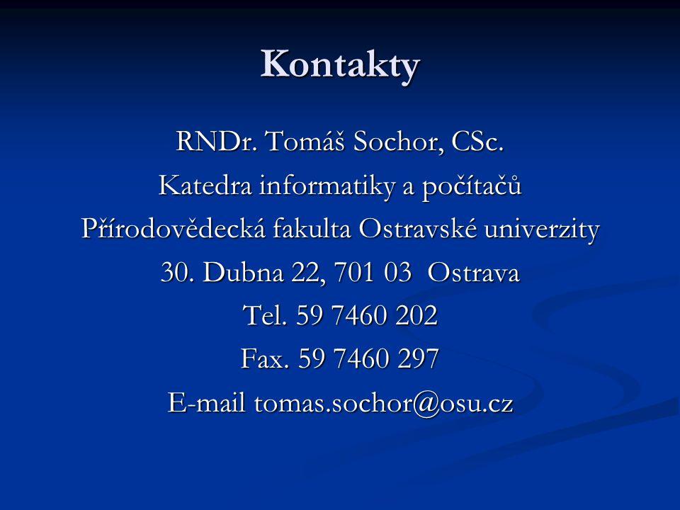 Kontakty RNDr. Tomáš Sochor, CSc.