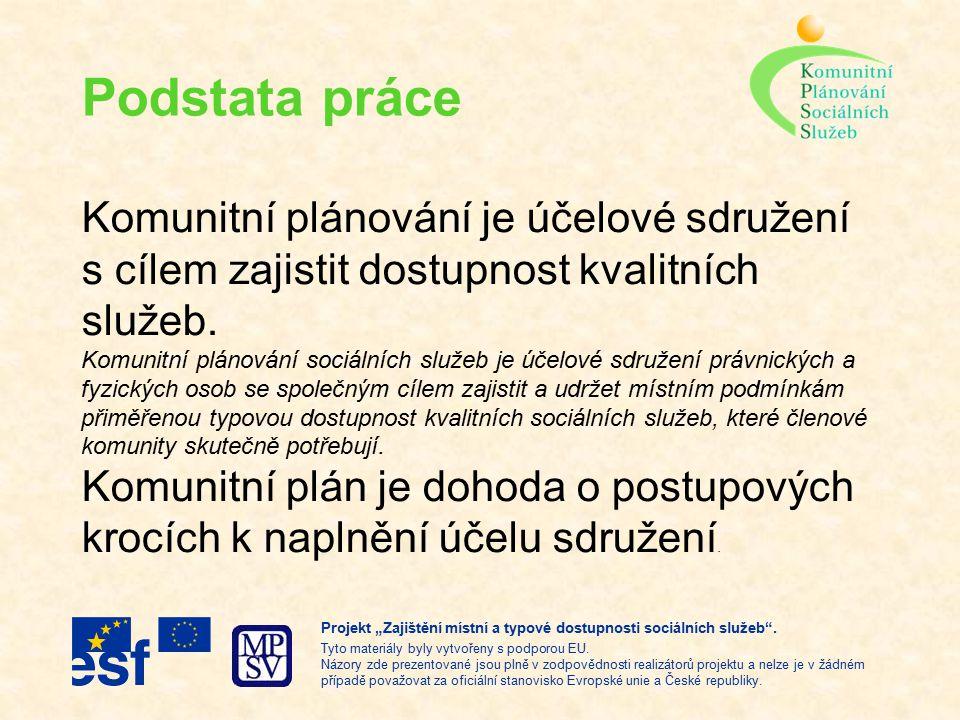 Podstata práce Komunitní plánování je účelové sdružení s cílem zajistit dostupnost kvalitních služeb.