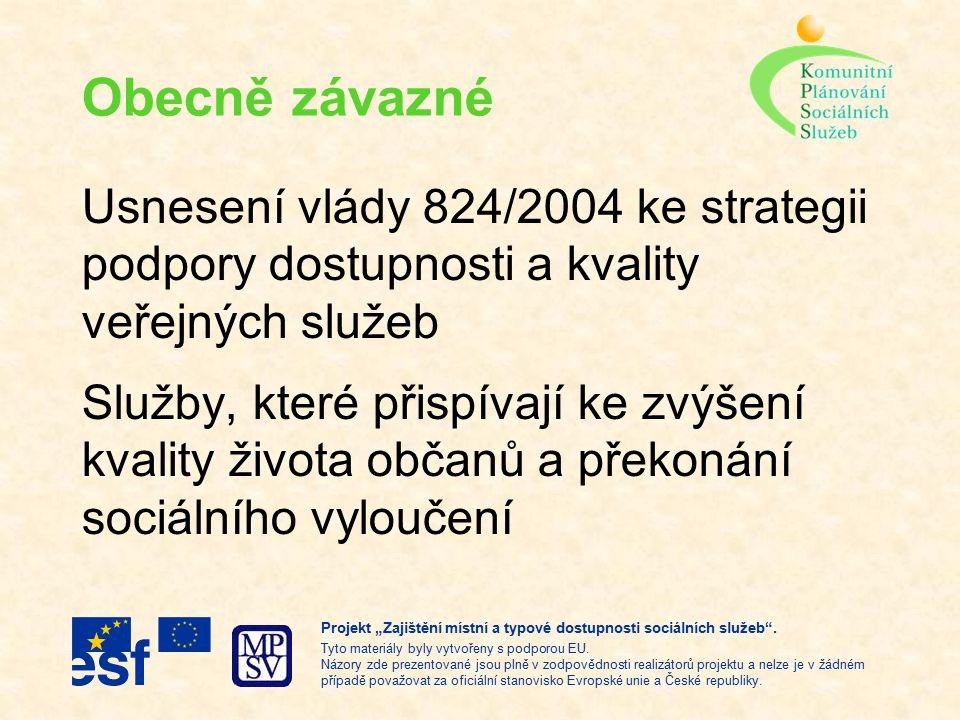"""Usnesení vlády 824/2004 zákon o sociálních službách pravidla pro registraci poskytovatelů pravidla pro certifikaci kvality MPSV, MZd a MK – podporovat komunitní plánování jako způsob řešení dostupnosti a kvality veřejných služeb Projekt """"Zajištění místní a typové dostupnosti sociálních služeb ."""