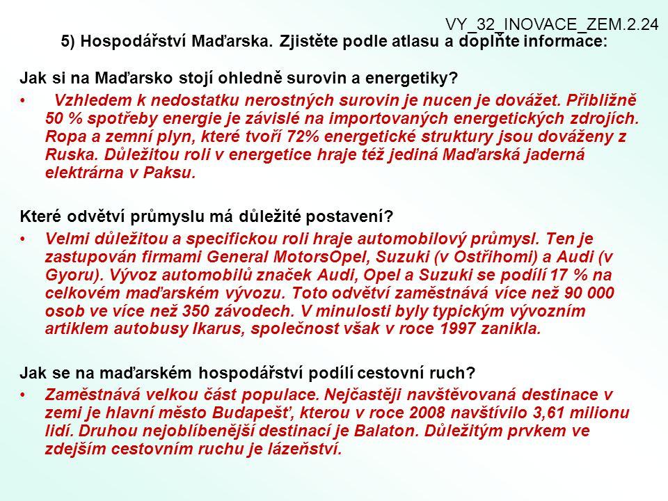 5) Hospodářství Maďarska. Zjistěte podle atlasu a doplňte informace: Jak si na Maďarsko stojí ohledně surovin a energetiky? Vzhledem k nedostatku nero