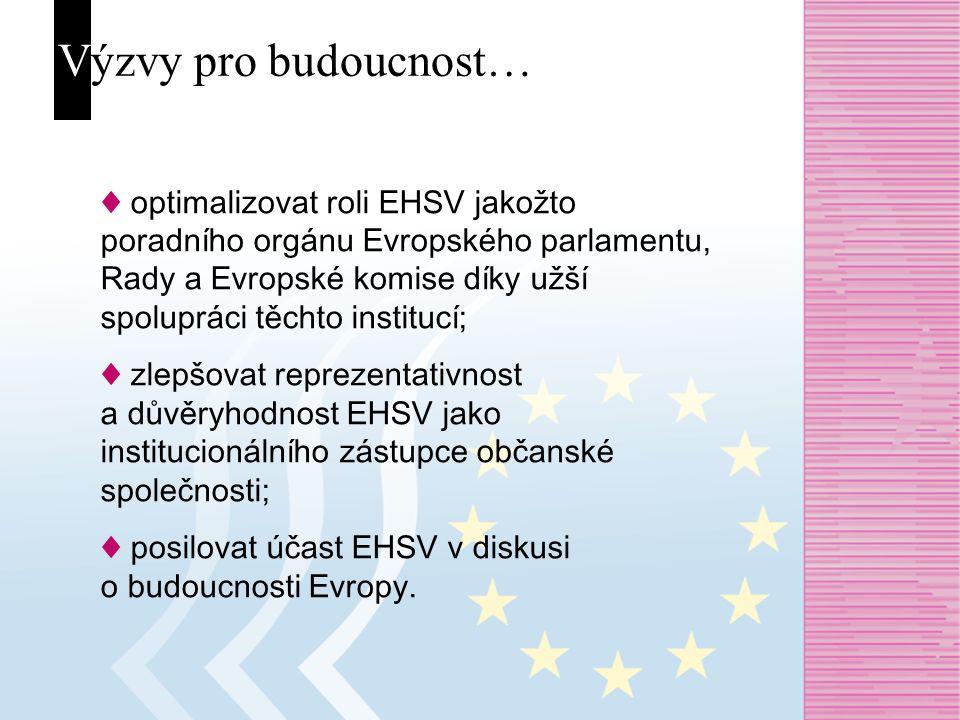 Výzvy pro budoucnost… ♦ optimalizovat roli EHSV jakožto poradního orgánu Evropského parlamentu, Rady a Evropské komise díky užší spolupráci těchto institucí; ♦ zlepšovat reprezentativnost a důvěryhodnost EHSV jako institucionálního zástupce občanské společnosti; ♦ posilovat účast EHSV v diskusi o budoucnosti Evropy.