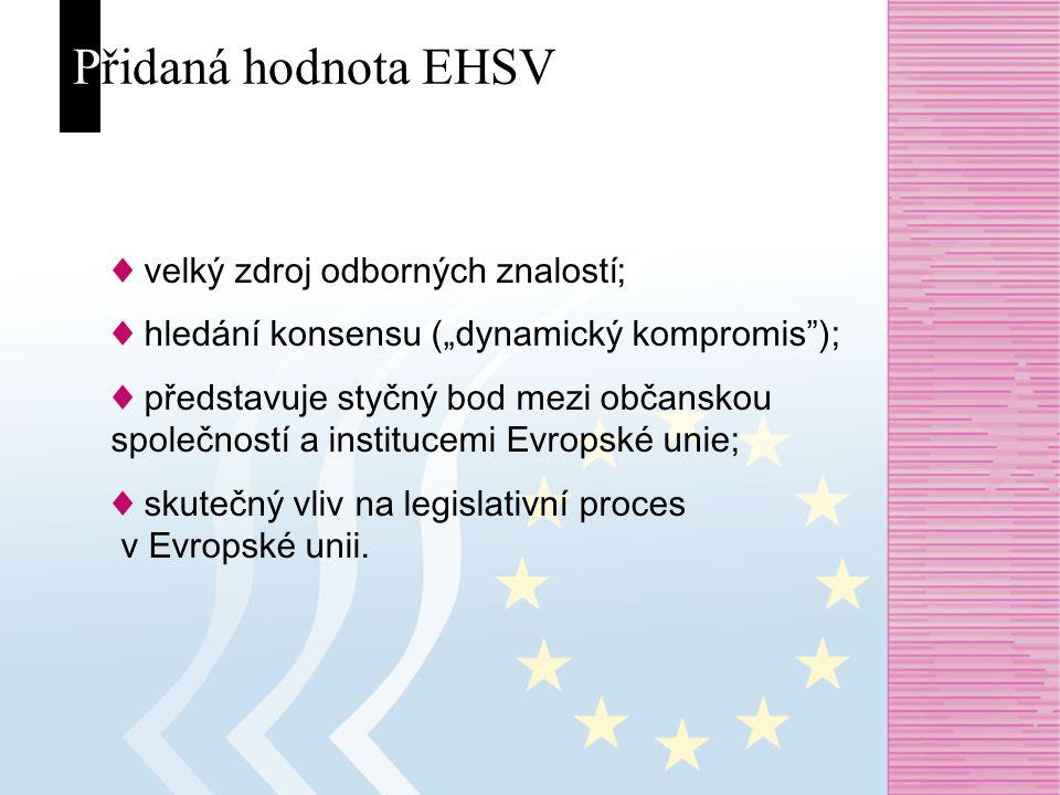 """Přidaná hodnota EHSV ♦ velký zdroj odborných znalostí; ♦ hledání konsensu (""""dynamický kompromis ); ♦ představuje styčný bod mezi občanskou společností a institucemi Evropské unie; ♦ skutečný vliv na legislativní proces v Evropské unii."""