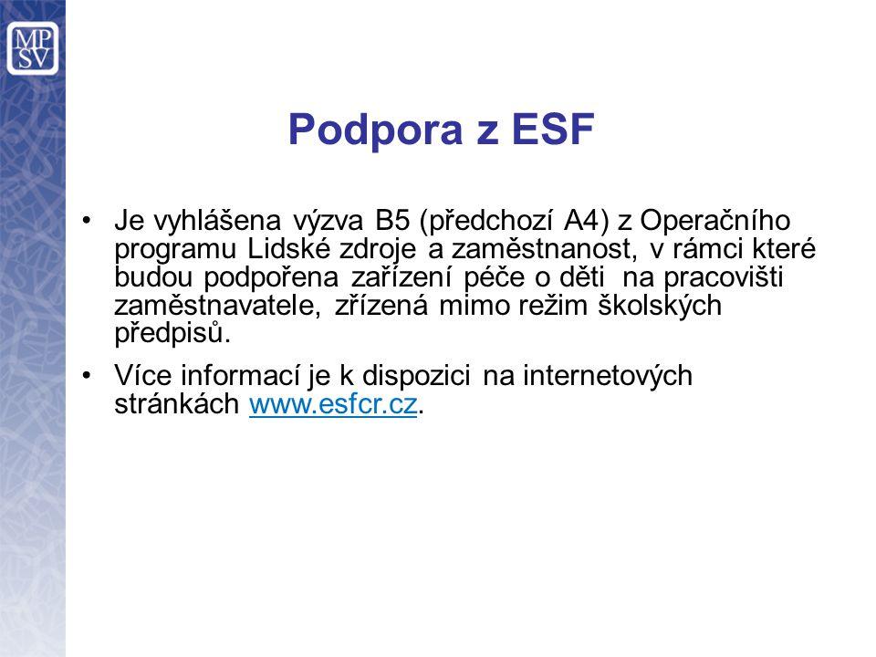 Podpora z ESF Je vyhlášena výzva B5 (předchozí A4) z Operačního programu Lidské zdroje a zaměstnanost, v rámci které budou podpořena zařízení péče o d