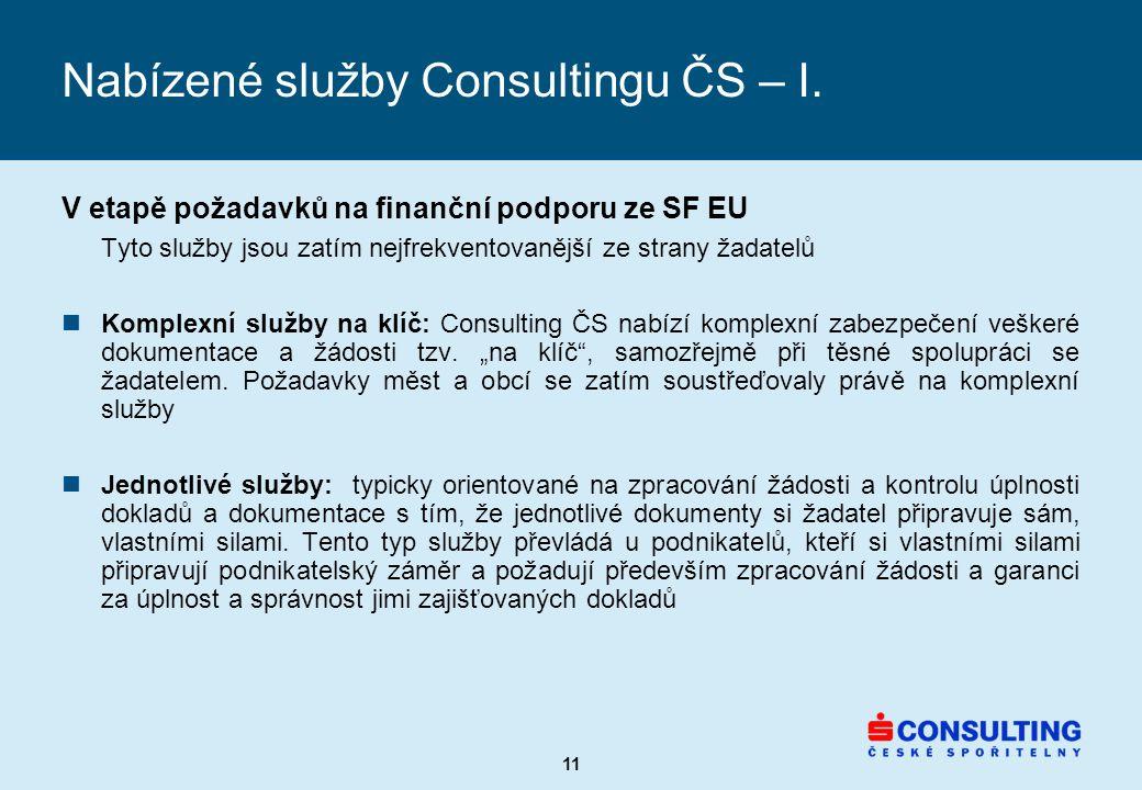 11 Nabízené služby Consultingu ČS – I.