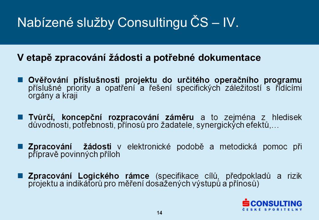 14 Nabízené služby Consultingu ČS – IV.