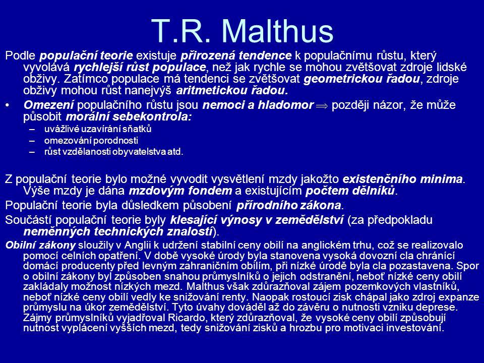 T.R. Malthus Podle populační teorie existuje přirozená tendence k populačnímu růstu, který vyvolává rychlejší růst populace, než jak rychle se mohou z