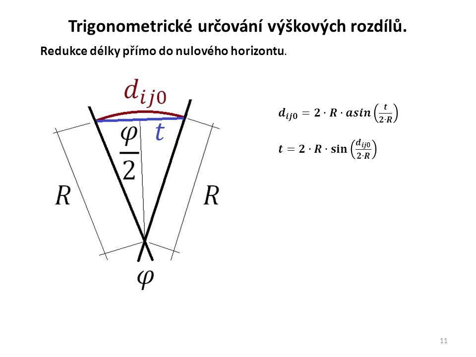 11 Trigonometrické určování výškových rozdílů.