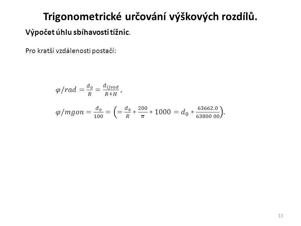 13 Trigonometrické určování výškových rozdílů.