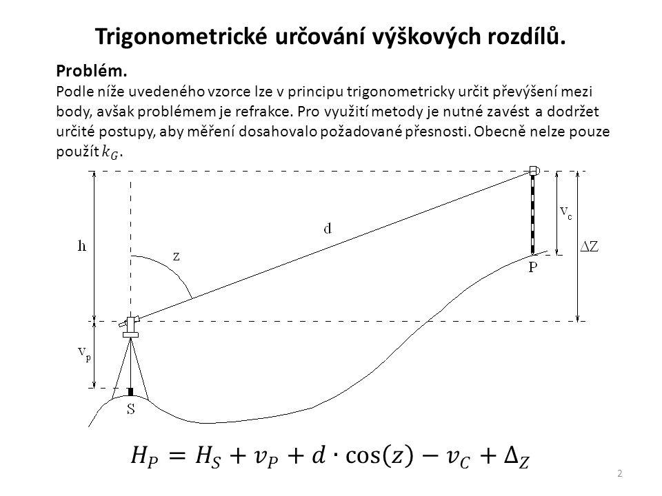 2 Trigonometrické určování výškových rozdílů.