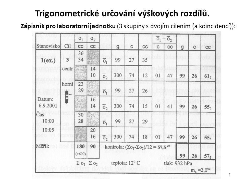7 Zápisník pro laboratorní jednotku (3 skupiny s dvojím cílením (a koincidencí)): Trigonometrické určování výškových rozdílů.