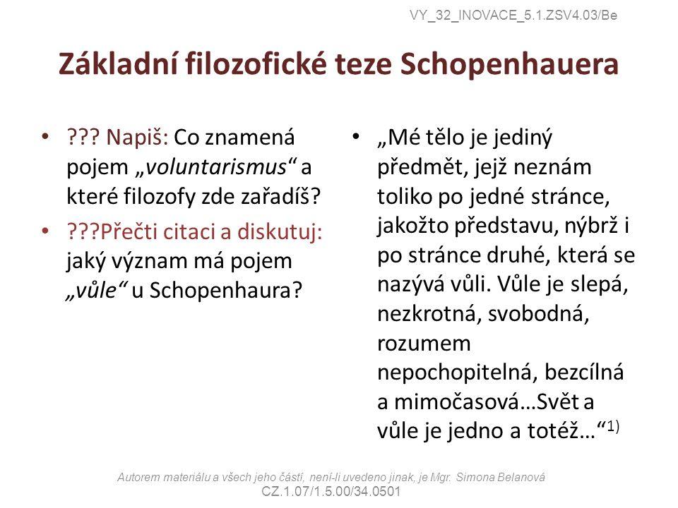 Základní filozofické teze Schopenhauera .