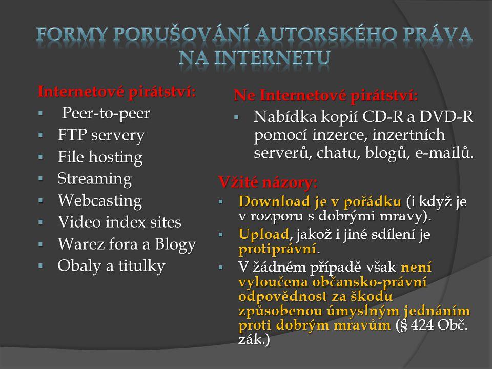 Internetové pirátství:  Peer-to-peer  FTP servery  File hosting  Streaming  Webcasting  Video index sites  Warez fora a Blogy  Obaly a titulky Ne Internetové pirátství:  Nabídka kopií CD-R a DVD-R pomocí inzerce, inzertních serverů, chatu, blogů, e-mailů.