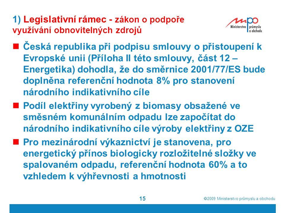  2009  Ministerstvo průmyslu a obchodu 15 1) Legislativní rámec - zákon o podpoře využívání obnovitelných zdrojů Česká republika při podpisu smlouv
