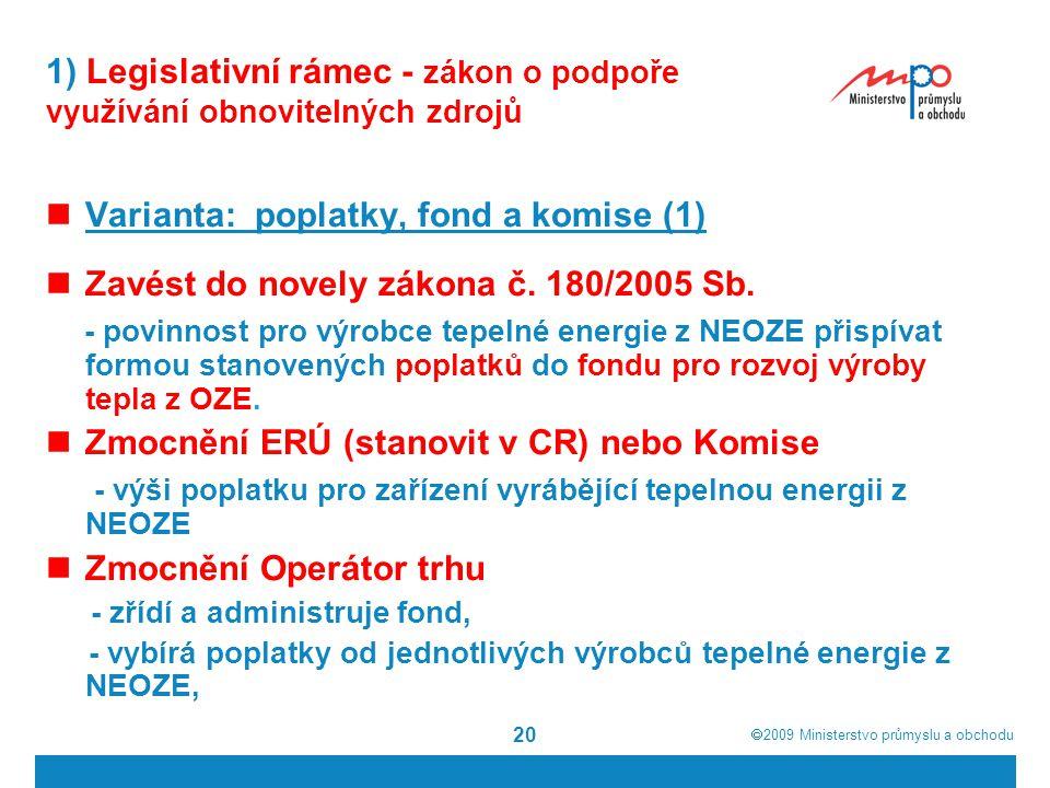  2009  Ministerstvo průmyslu a obchodu 20 1) Legislativní rámec - zákon o podpoře využívání obnovitelných zdrojů Varianta: poplatky, fond a komise