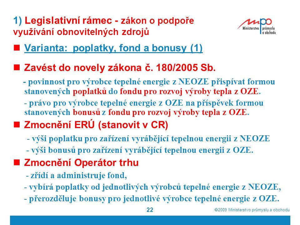  2009  Ministerstvo průmyslu a obchodu 22 1) Legislativní rámec - zákon o podpoře využívání obnovitelných zdrojů Varianta: poplatky, fond a bonusy
