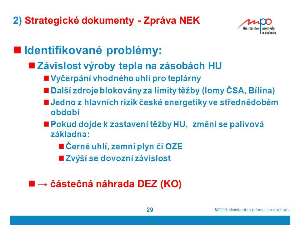  2009  Ministerstvo průmyslu a obchodu 29 2) Strategické dokumenty - Zpráva NEK Identifikované problémy: Závislost výroby tepla na zásobách HU Vyče