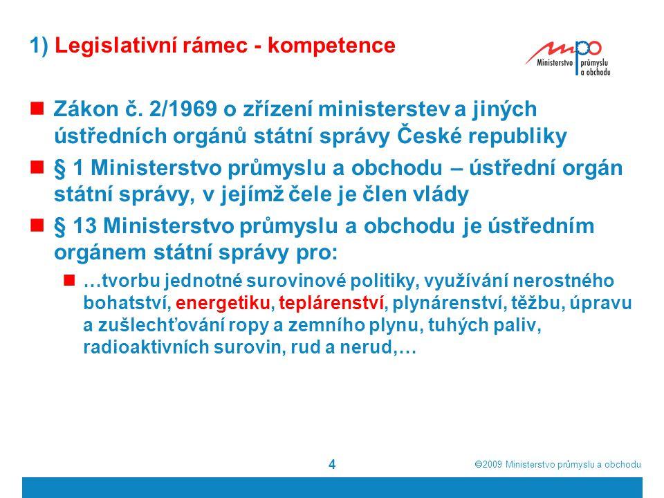  2009  Ministerstvo průmyslu a obchodu 4 1) Legislativní rámec - kompetence Zákon č. 2/1969 o zřízení ministerstev a jiných ústředních orgánů státn